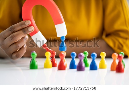 ビジネスパーソン 人間 馬蹄 磁石 クローズアップ 紙 ストックフォト © AndreyPopov