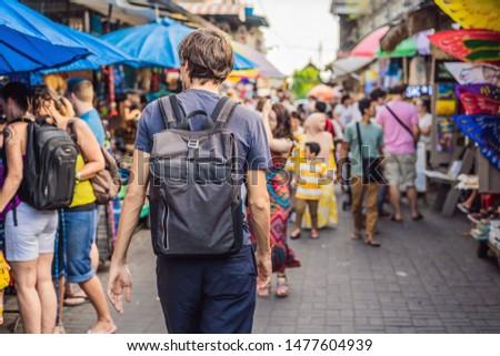 Adam pazar bali tipik hatıra alışveriş Stok fotoğraf © galitskaya