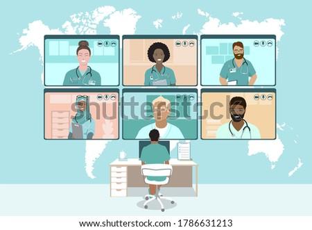 Mobile learning during global coronavirus pandemic concept vecto Stock photo © RAStudio