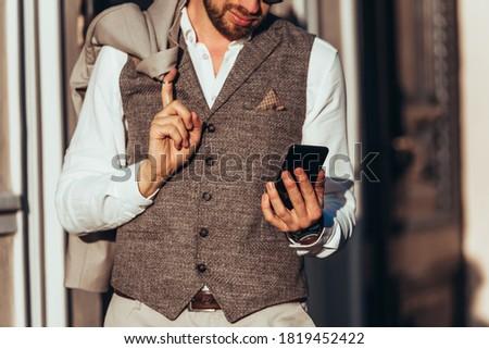 Outdoor shot knap mannelijke formeel kleding Stockfoto © vkstudio