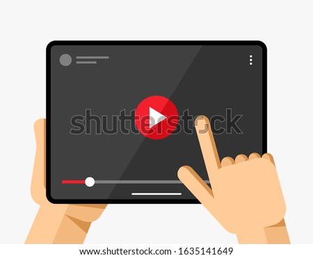 Tablet mockup in human hand. Video player application on white background. Play, pause, slider butto Stock photo © karetniy