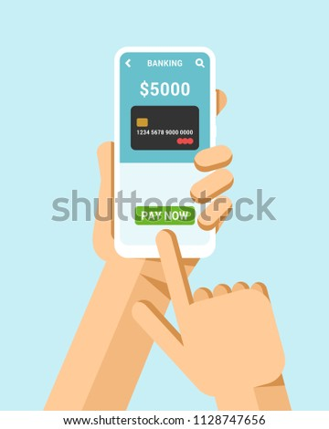 Hand holds the smartphone. Financial operation with premium credit card. Flat vector modern phone mo Stock photo © karetniy
