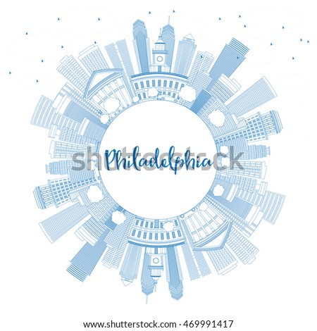 Outline Philadelphia Skyline with Blue Buildings and Copy Space. Stock photo © ShustrikS