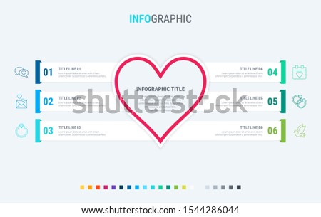 Infographic love template. 6 steps design with beautiful colors. Vector infographic elements for pre Stock photo © ukasz_hampel