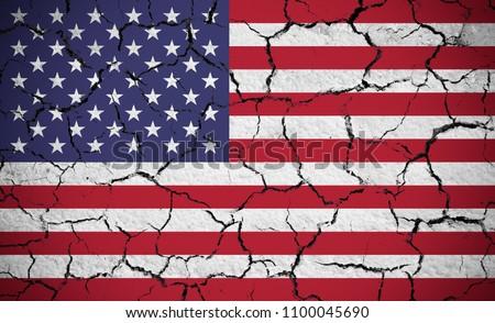 USA zászló száraz repedt Föld textúra Stock fotó © olira