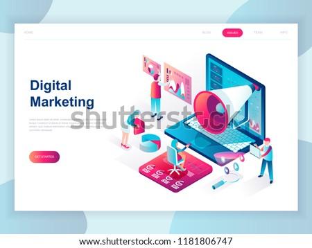 Digital marketing - modern isometric vector web banner Stock photo © Decorwithme