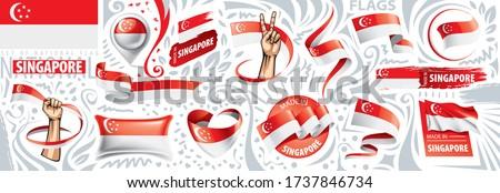 Vektor szett zászló Szingapúr különböző kreatív Stock fotó © butenkow