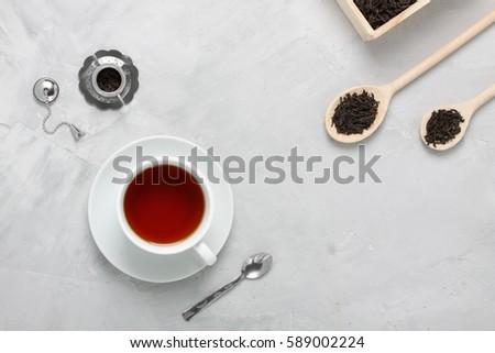 Czarny herbaty naturalnych smaki czajniczek górę Zdjęcia stock © butenkow