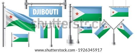 Wektora zestaw banderą Dżibuti różny twórczej Zdjęcia stock © butenkow