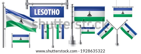 Vector set of the national flag of Lesotho in various creative designs Stock photo © butenkow