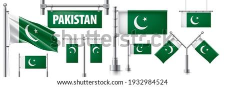 Vektör ayarlamak bayrak Pakistan yaratıcı Stok fotoğraf © butenkow