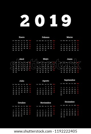 Año simple calendario espanol vertical hoja Foto stock © evgeny89
