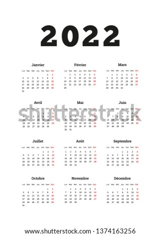 2022 year simple calendar on french language, A4 size vertical sheet isolated on white Stock photo © evgeny89