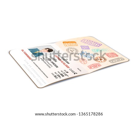 Open buitenlands paspoort vol immigratie postzegels Stockfoto © evgeny89