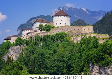 Beautiful landscape with Kufstein Fortress on a background of blurres mountains, Austria. Stock photo © artjazz