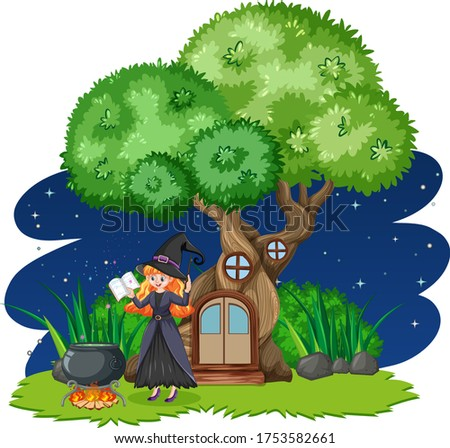 Witch standing beside tree house cartoon style on white backgrou Stock photo © bluering