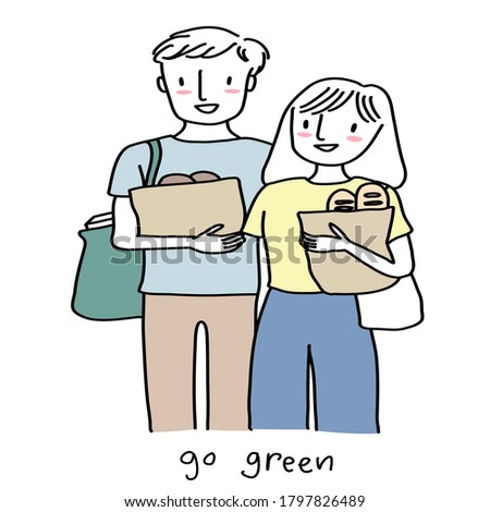 Reusable grocery bags with bread in the hands of a young woman. Zero waste shopping. Zero waste conc Stock photo © galitskaya