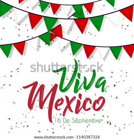 Viva Mexico Independence Day lettering text greeting card template Stock photo © orensila