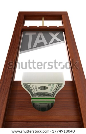 guillotine with text tax on white background. Isolated 3d illust Stock photo © ISerg