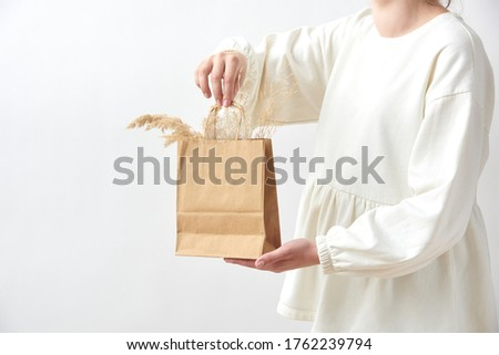 Woman's hand holding paper eco bag with dry natural plant twig. Stock photo © artjazz