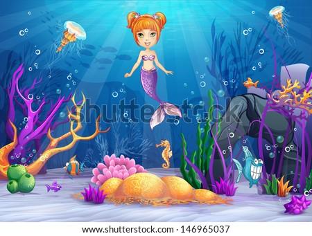 бесшовный морских животных русалка синий иллюстрация Сток-фото © bluering