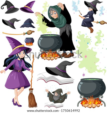 Set of wizard or witches and tools cartoon style isolated on whi Stock photo © bluering