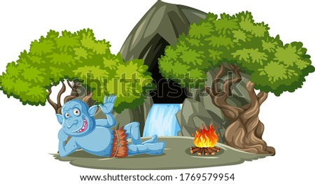 Goblin or troll lying infront of stone cave with tree cartoon st Stock photo © bluering