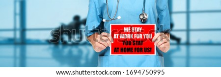 COVID-19 Social distancing quote medical nurse promoting staying at home to help workers. Coronaviru Stock photo © Maridav