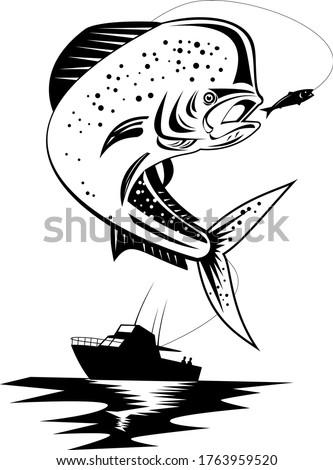 Mahi-mahi Dorado Dolphinfish Jumping Up With Fishing Boat Retro Black and White Stock photo © patrimonio