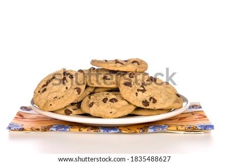 Friss sült csokoládé chip sütik halom Stock fotó © marylooo