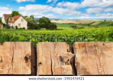 Wooden boards or countertop against blurred countryside landscape on background. Use as mockup for d Stock photo © artjazz