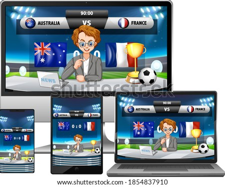 Conjunto futebol combinar notícia diferente eletrônico Foto stock © bluering