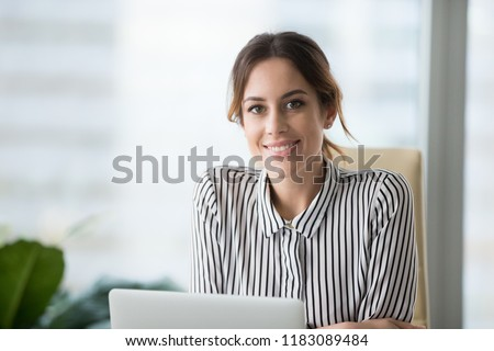 closeup portrait of beautiful caucasian woman sitting on comfort stock photo © hasloo