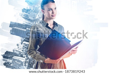 Beautiful European young solid businesswoman standing with hands Stock photo © HASLOO