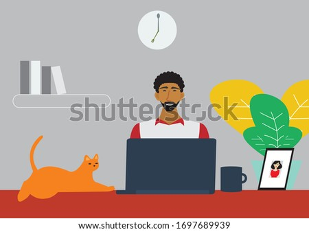 Man using a laptop computer accompanied by a woman with a red briefcase Stock photo © photography33