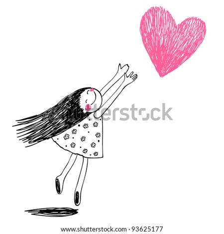 Funny girl with hearts. Doodle cartoon character. Vector Illustration. Stock photo © balasoiu