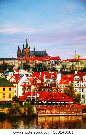 Stock photo: Overview of old Prague from Charles bridge