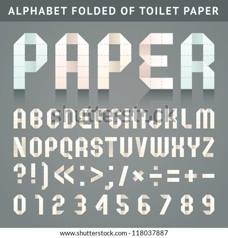 Alfabet fałdowy papier toaletowy litery Roman arabskie Zdjęcia stock © Ecelop