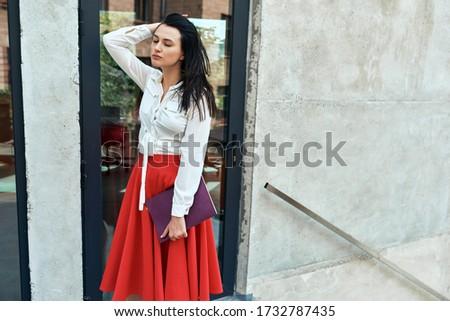 mosolyog · üzletasszony · tart · piros · mappa · fehér - stock fotó © wavebreak_media