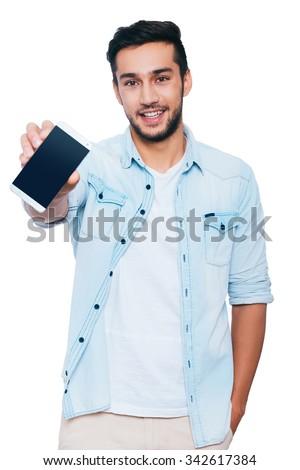 bel · homme · téléphone · portable · blanche · téléphone · homme - photo stock © wavebreak_media