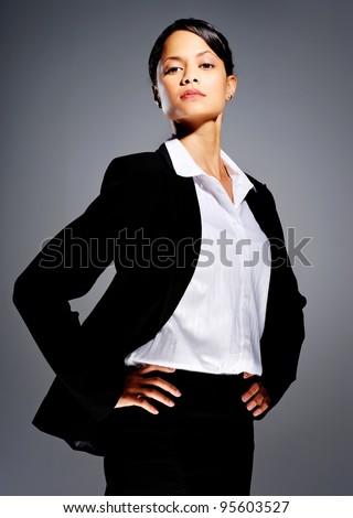 портрет женщину костюм рук бедра белый Сток-фото © wavebreak_media