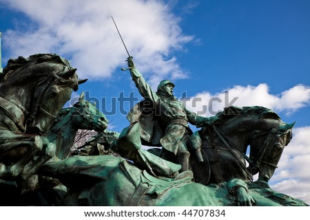 union soldiers charging us grant statue memorial capitol hill wa stock photo © billperry