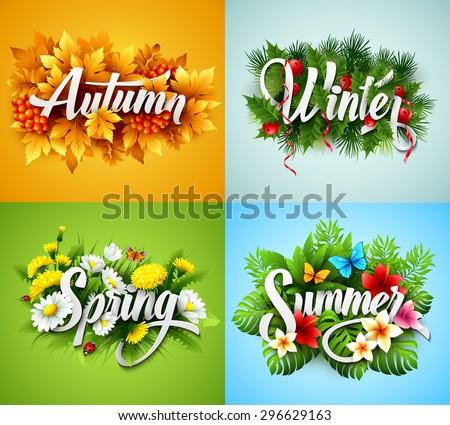 Vektör posterler dört yıl mevsim mevsimlik Stok fotoğraf © vitek38