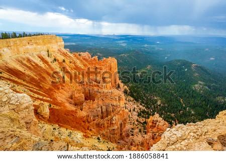 horizontal view of Hoodoo rocks Stock photo © vwalakte