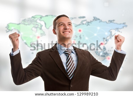 Portrait of young man standing in front of big world map. Server Stock photo © HASLOO