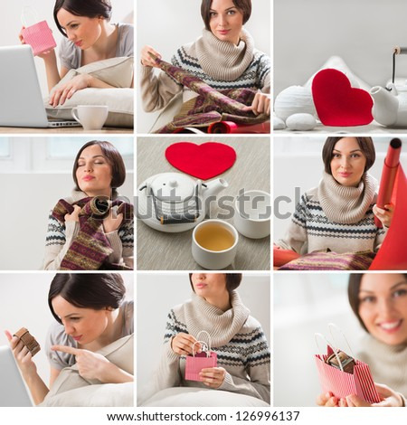 Valentines say or birthday image set with beautiful woman wrappi Stock photo © HASLOO