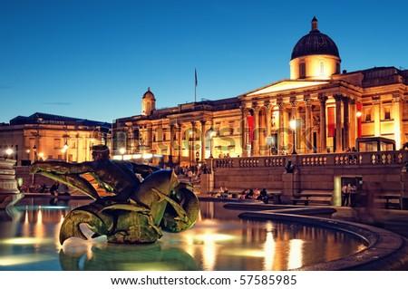 galerij · vierkante · nacht · Londen · eenheid · Verenigd · Koninkrijk - stockfoto © anshar