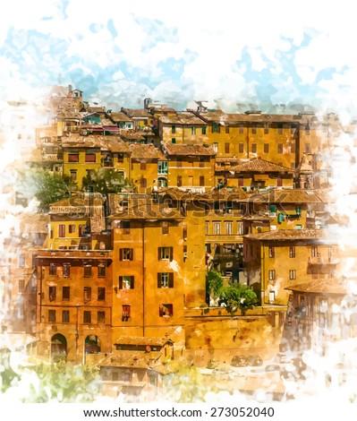 panoramik · görmek · Toskana · kule - stok fotoğraf © anshar