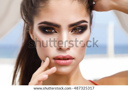 Manicured nails. Eye make up. Fashion Blond Girl. Beauty Portrai Stock photo © Victoria_Andreas