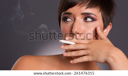 Intimate Portrait Female Smoker Addiction Woman Smoking Cigarett Stock photo © cboswell